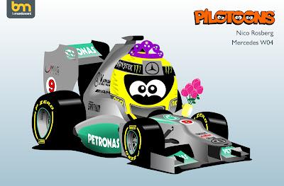 Нико Росберг Mercedes W04 pilotoons 2013