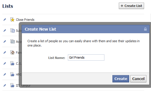 Facebook List Name