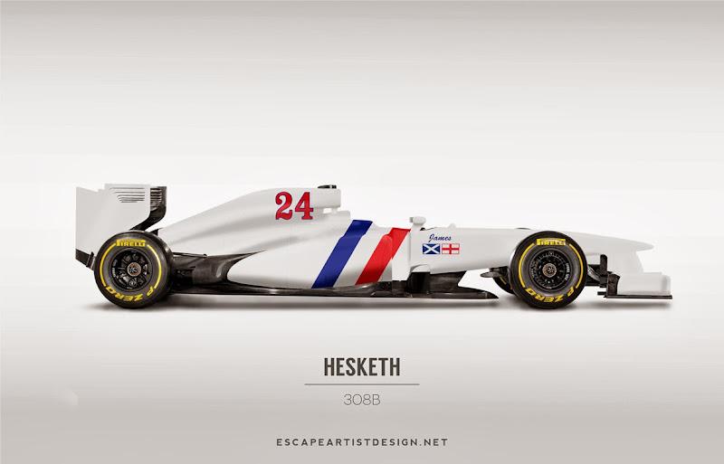 современный болид в раскраске Hesketh 308B - Escape Artist Design