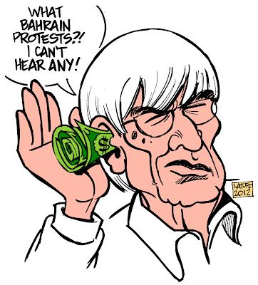 Берни Экклстоун - карикатура Carlos Latuff на тему Гран-при Бахрейна 2012