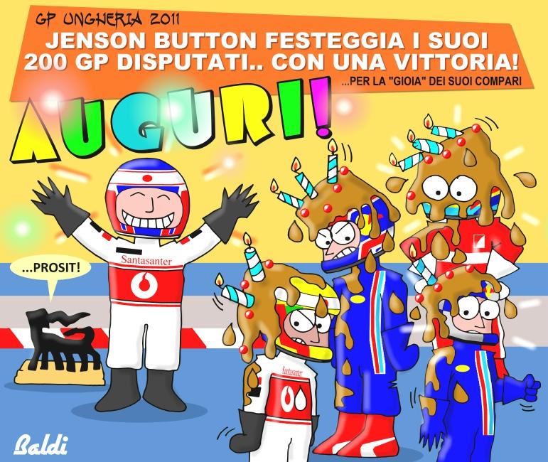 Дженсон Баттон угощает всех тортом в честь своего 200-го Гран-при - комикс Baldi по Гран-при Венгрии 2011