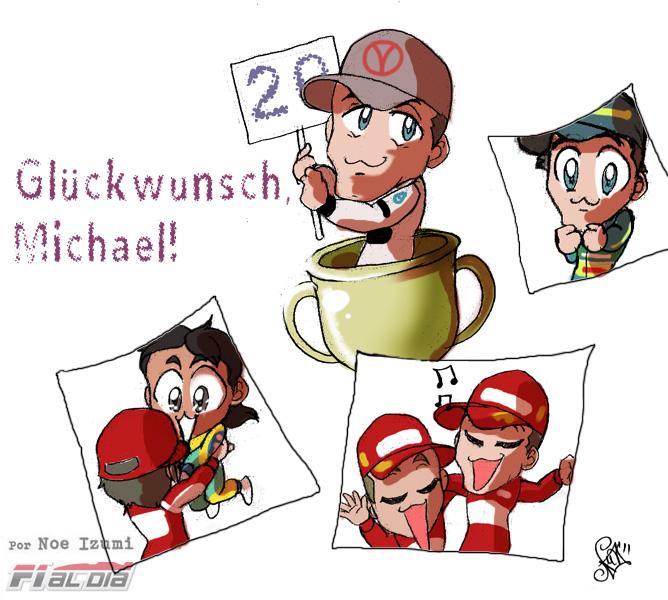 анимешный рисунок Noe Izumi о 20-летнем юбилее Михаэля Шумахера на Гран-при Бельгии 2011