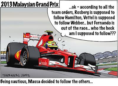 Фелипе Масса о командной тактике на Гран-при Малайзии 2013 - комикс Bruce Thomson