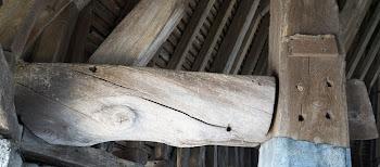 Fente de retrait et fil tort sur la charpente de la tour César à Provins