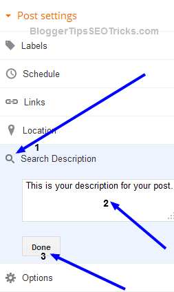 search description option in blogger posts