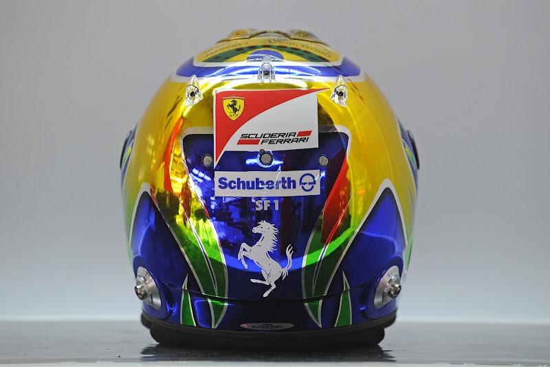 юбилейный шлем Фелипе Массы на Гран-при Бразилии 2011 - вид сзади