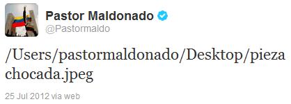 Пастор Мальдонадо неудачно вставляет картинку в твиттер