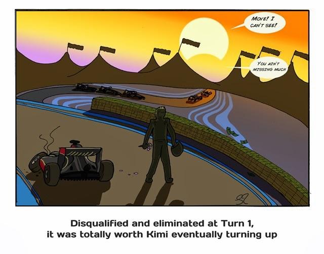 Кими Райкконен сходит в первом повороте Гран-при Абу-Даби 2013 - комикс Stuart Taylor