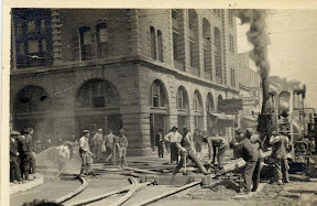 Workers Laying Track Beside The Waldo Hotel
