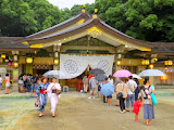 People waiting in line to offer prayers at Gokoku Shrine