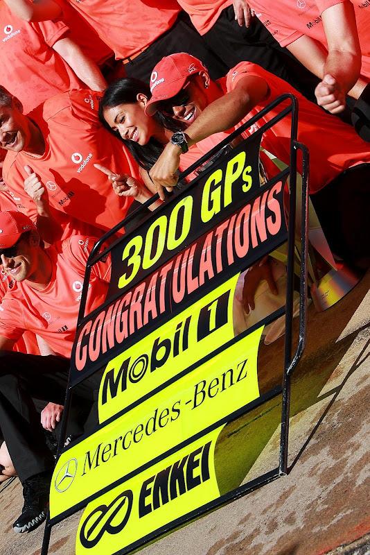 Николь Шерзингер и Льюис Хэмилтон отмечают победу на Гран-при Канады 2012