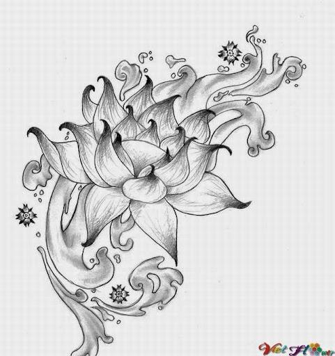 vẽ hoa sen cách điệu