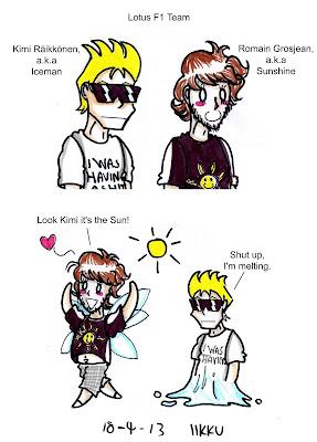 Кими Райкконен и Ромэн Грожан Iceman - Sunshine - комикс Iikku