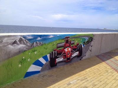 граффити Ferrari на набережной Сочи на Гран-при России 2014