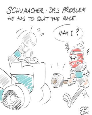 Михаэль Шумахер с кувалдой идет чинить DRS на своем Mercedes на Гран-при Канады 2012 - комикс Cirebox