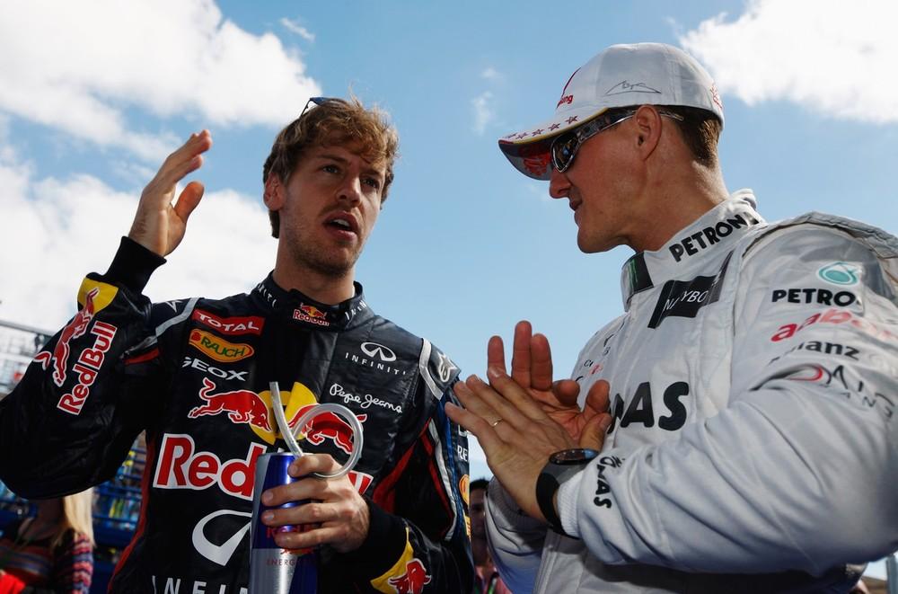 Себастьян Феттель и Михаэль Шумахер на Гран-при Австралии 2012