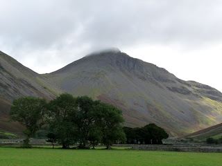 Great Gable before the start of the walk - the cloud is trying to clear from the summit