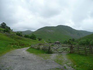 A dreary start to the walk - Looking to Gray Crag from Hartsop Car Park