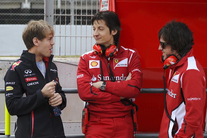 Себастьян Феттель Массимо Ривола и Фернандо Алонсо на предсезонных тестах 2012 в Барселоне 3 марта 2012