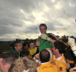 The Clontibret Team celebrating after winning the Mick Duffy Cup, in the Gormley uPVC Monaghan Senior Football Championship game in Inniskeen. Photo by Philip Fitzpatrick