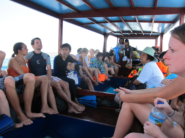 The overloaded snorkel trip boat.