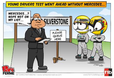 молодежные тесты в Сильверстоуне без пилотов Mercedes - комикс Chris Rathbone