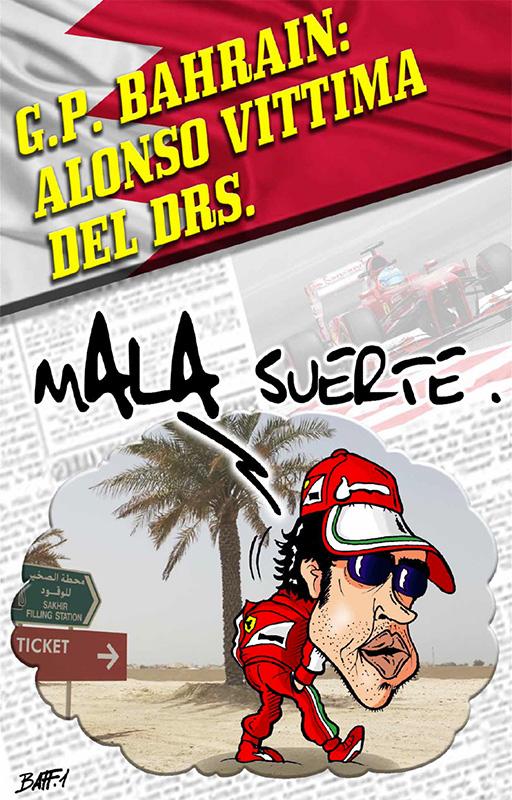 Фернандо Алонсо - жертва DRS - комикс Baffi по Гран-при Бахрейна 2013