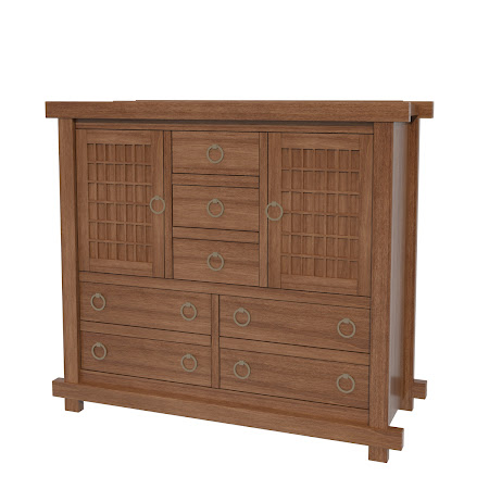 Tansu Wardrobe Dresser, Royal Maple