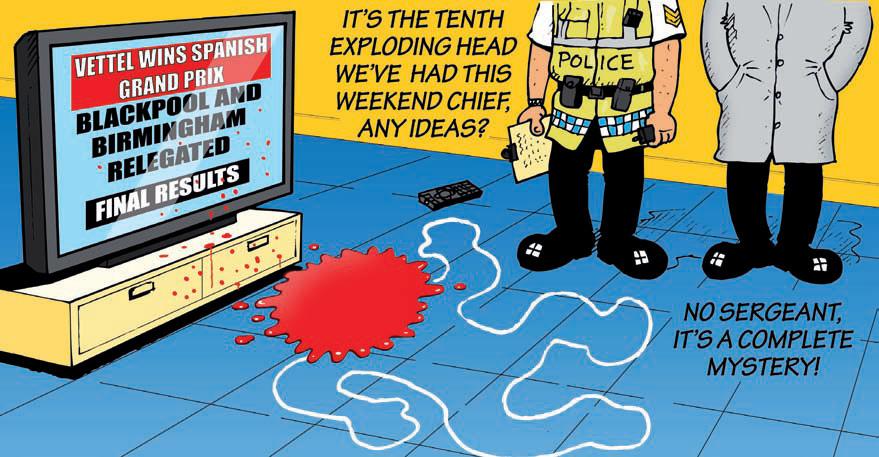 Себастьян Феттель снова выигрывает - комикс Jim Bamber после Гран-при Испании 2011