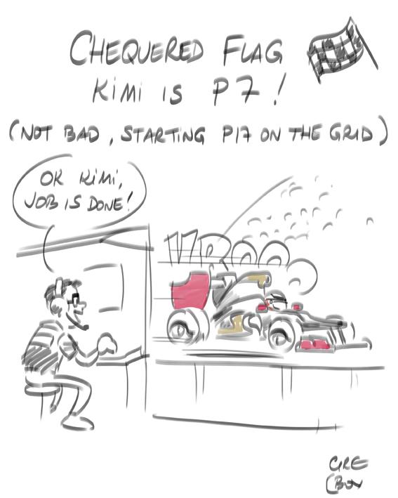Кими Райкконен финиширует 7-ым за Lotus на Гран-при Австралии 2012 - комикс Cirebox
