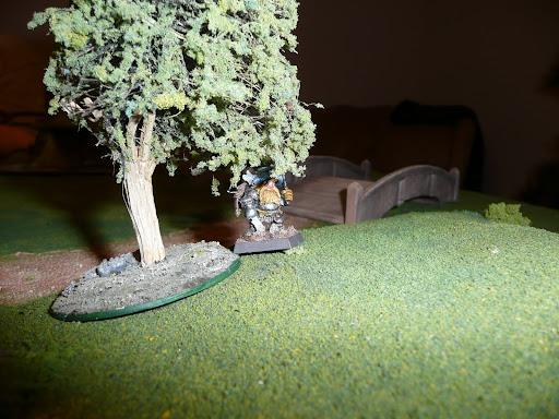 Popsi hiding under a tree, lighter about a quiver-full of quarrels