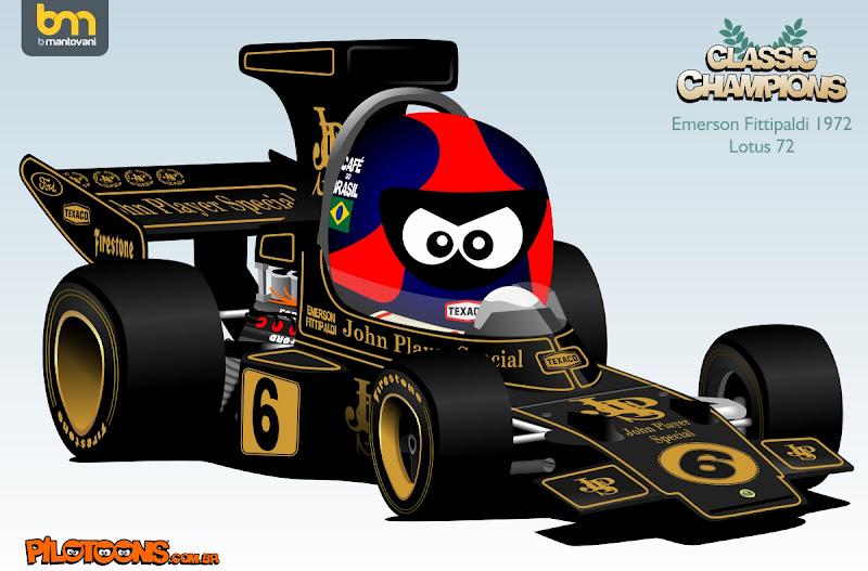 Эмерсон Фиттипальди 1972 Lotus 72 pilotoons