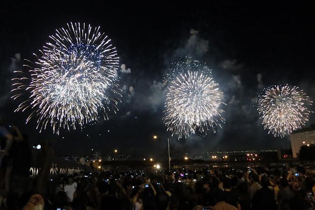 Macy's synchronized fireworks over the Hudson River.