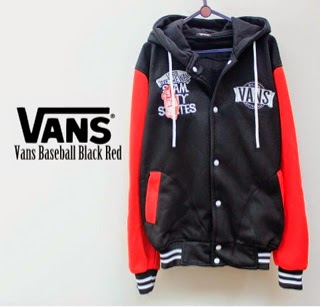 Jaket Vans Baseball Black Red