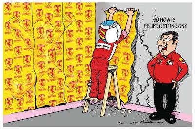 Фернандо Алонсо клеит обои Ferrari поверх Фелипе Массы - комиксы Jim Bamber