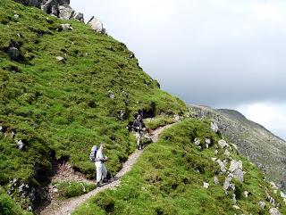 Jo and John on The Climbers Traverse - Bowfell