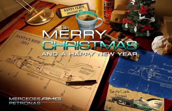 поздравления от Mercedes AMG F1 с Рождеством и Новым Годом