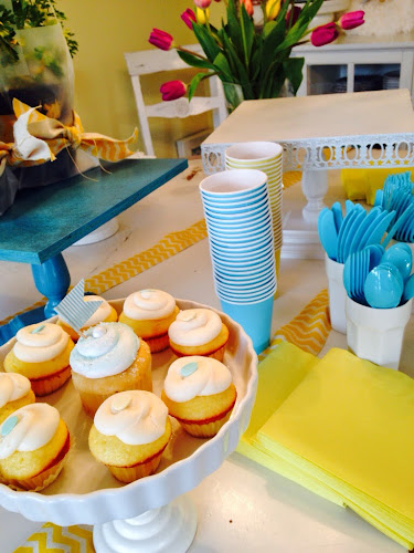 Yellow and turqoise bridal shower, party pail, the style sisters