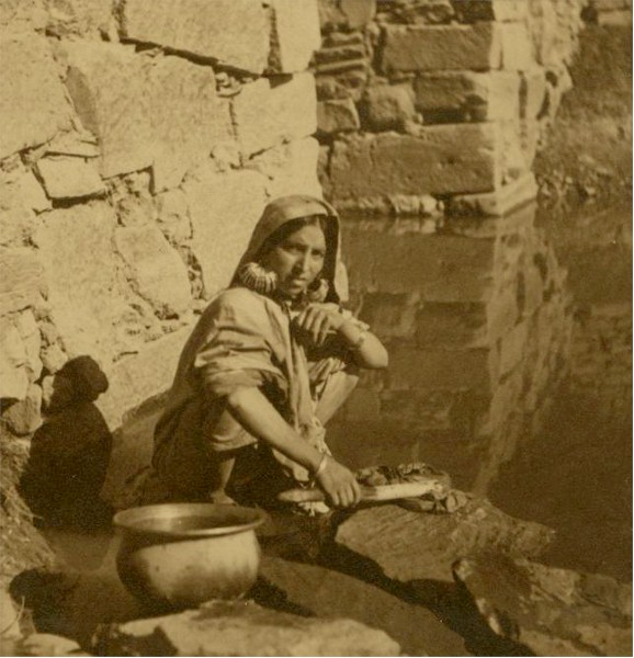 Kashmiri Woman Washing Cloth - August 1937