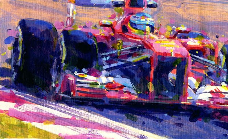 Фернандо Алонсо на Ferrari побеждает в Шанхае - рисунок Rob Ijbema по Гран-при Китая 2013