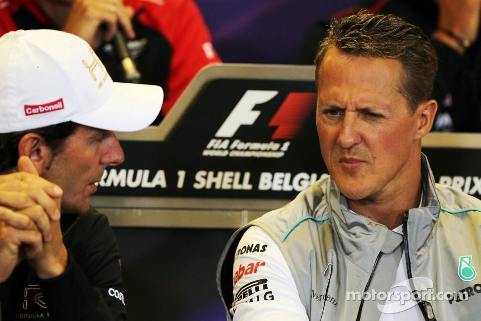 Педро де ла Роса и Михаэль Шумахер на пресс-конференции Гран-при Бельгии 2012