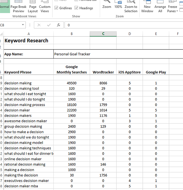 App Keyword Research Step 1 Results