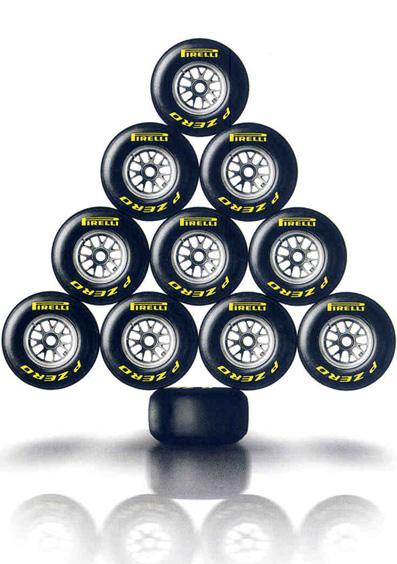 новогодняя елка из покрышек Pirelli