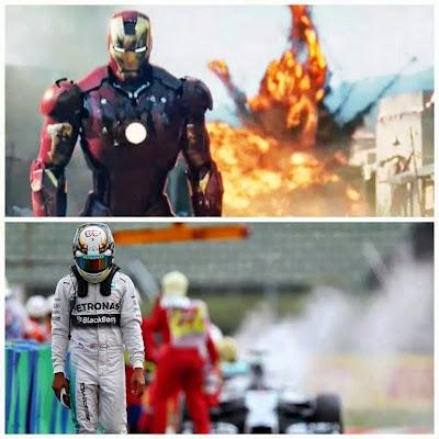 фотошоп Железный Человек и Льюис Хэмилтон на фоне горящего Mercedes на Гран-при Венгрии 2014