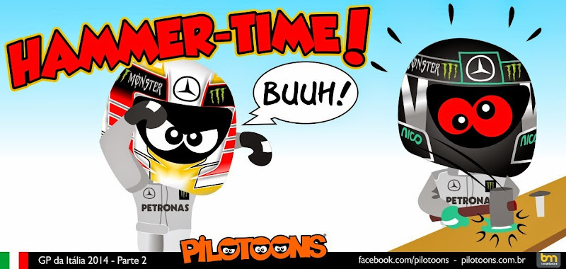Хамма-тайм - Льюис Хэмилтон побеждает в Монце - комикс pilotoons по Гран-при Италии 2014
