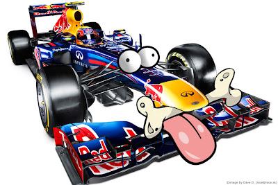 фотошоп Red Bull RB8 в виде собачки с косточкой во рту by Dave D race@race.sk