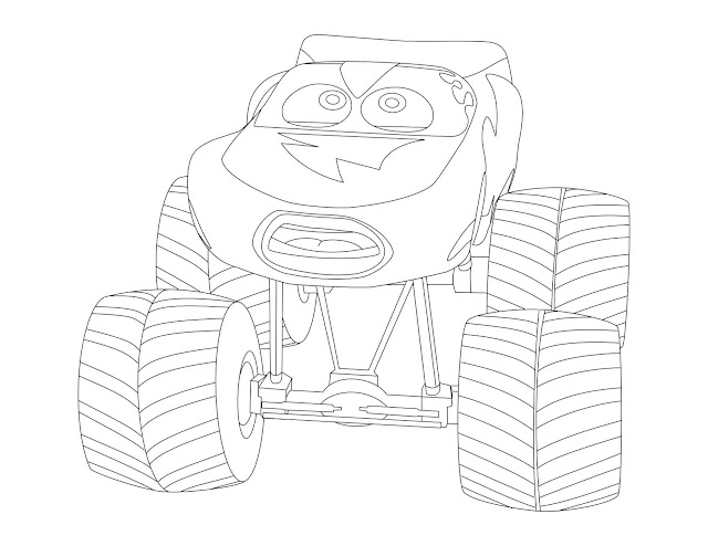 lightning mcqueen monster truck coloring page - Monster Truck Mater Coloring Page