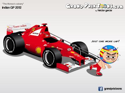 Фернандо Алонсо тащит за собой Ferrari - комикс Grand Prix Toons по Гран-при Индии 2012