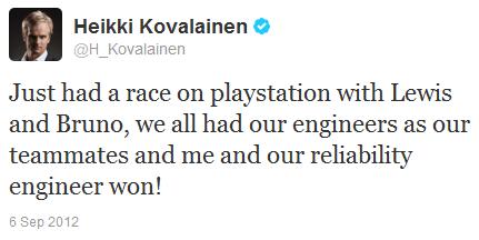 Хейкки Ковалайнен в твиттере о победе на Льюисом Хэмилтоном и Бруно Сенной на Гран-при Италии 2012