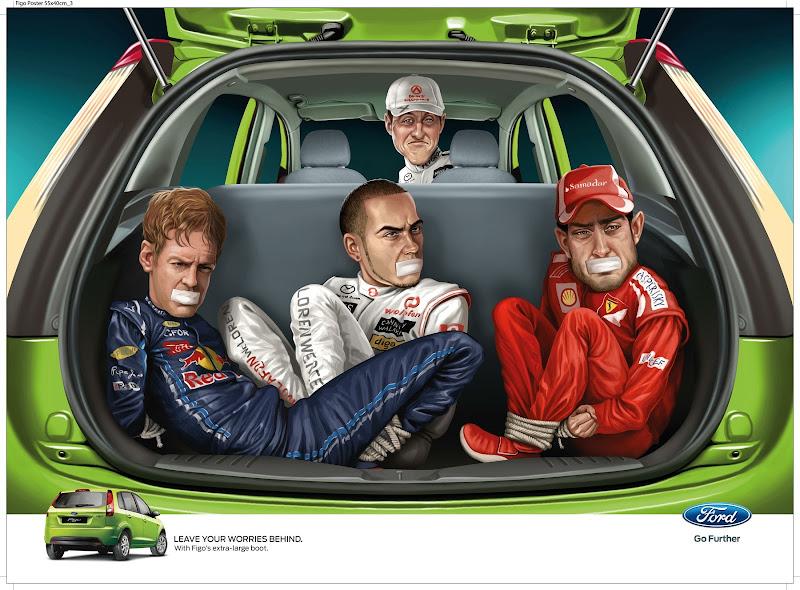 Михаэль Шумахер в рекламе Ford Figo перевозит чемпионов в багажнике